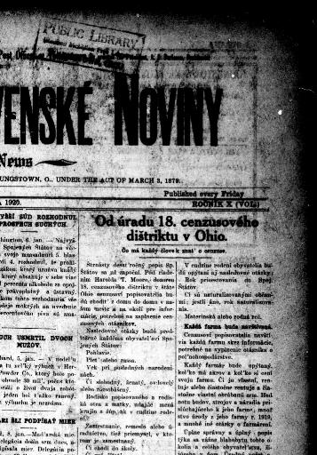 b64cdf82a Youngstownské Slovenské noviny = Youngstown Slovak news. (Youngstown, Ohio)  1910-1940, January 09, 1920, Image 1 « Chronicling America « Library of  Congress