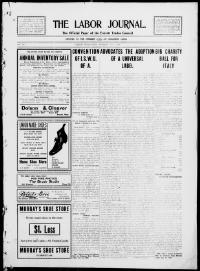 Thumbnail for the Jan. 7, 1909 edition of the The Labor Journal