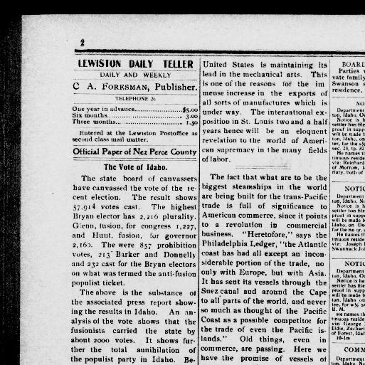 Lewiston daily teller  (Lewiston, Idaho) 1900-1901, November 28