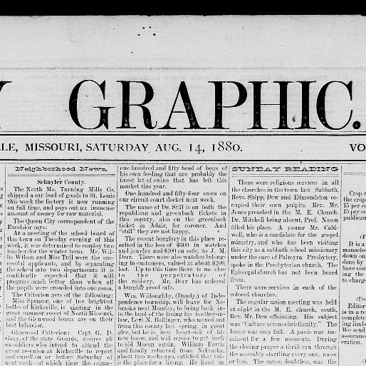 Weekly graphic  (Kirksville, Adair Co , Mo ) 1880-1949