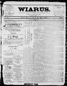 Wiarus Winona Minn 1886 1893 April 29 1886 Image 1