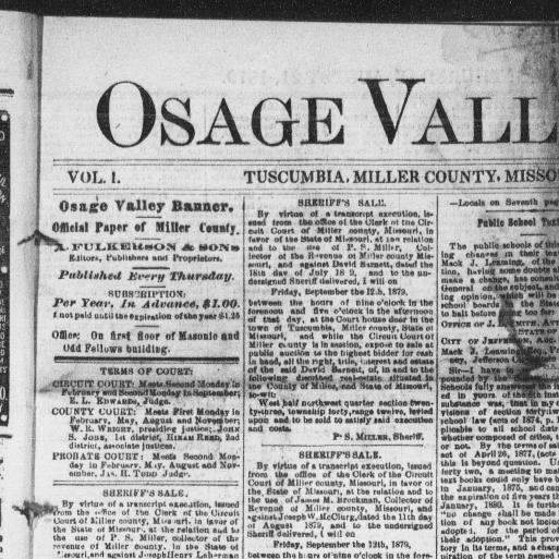 Osage Valley banner  (Tuscumbia, Miller County, Mo ) 1879