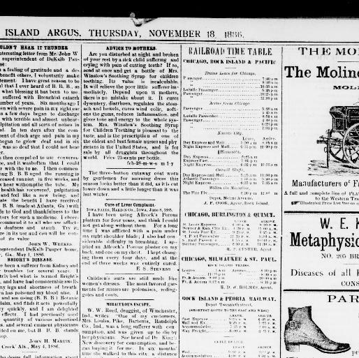 Led Le Brummt rock island daily argus rock island ill 1886 1893 november 18
