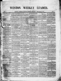 Thumbnail for the Dec. 21, 1878 edition of the Weston Weekly Leader