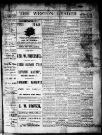 Thumbnail for the Aug. 12, 1892 edition of the The Weston Leader