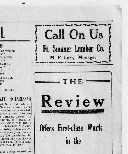 The Fort Sumner review  (Fort Sumner, Guadalupe County, N M ) 190