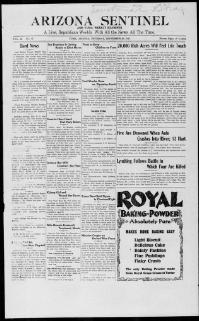 Thumbnail for the Sept. 28, 1911 edition of the Arizona Sentinel And Yuma Weekly Examiner