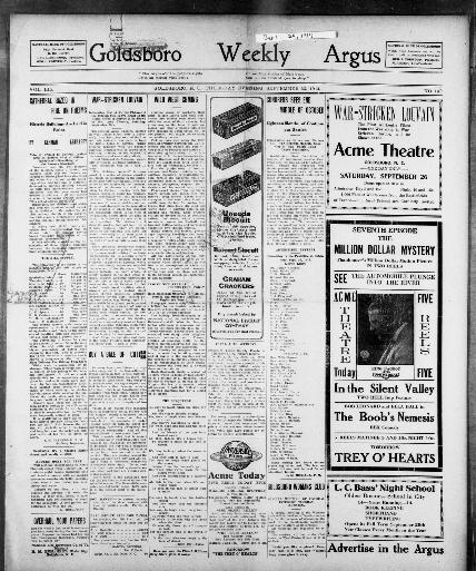 Goldsboro weekly argus  [volume] (Goldsboro, N C ) 191?-19