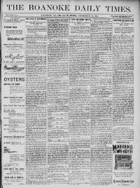 Thumbnail for the Sept. 20, 1895 edition of the The Roanoke Daily Times